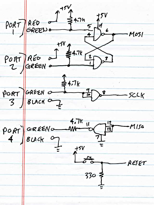 hub isp solving the usb only chicken or egg problem opps i drew ports 1 and 2 red wires and ports 3 and 4 black wires on this schematic but i actually used the cables black wires on ports