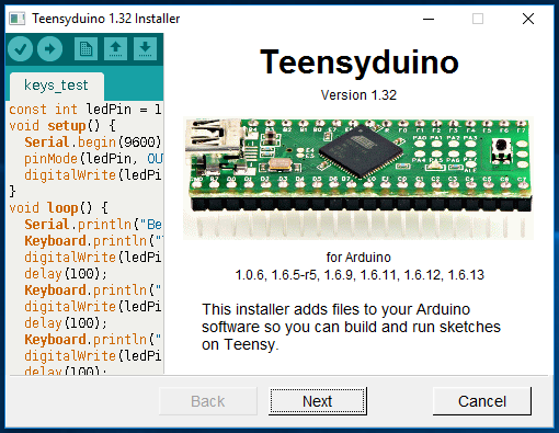 Teensyduino: Download and Install Teensy support into the